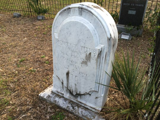The tombstone of Titusville namesake Henry Titus states that he was born in 1823 and died in 1881.