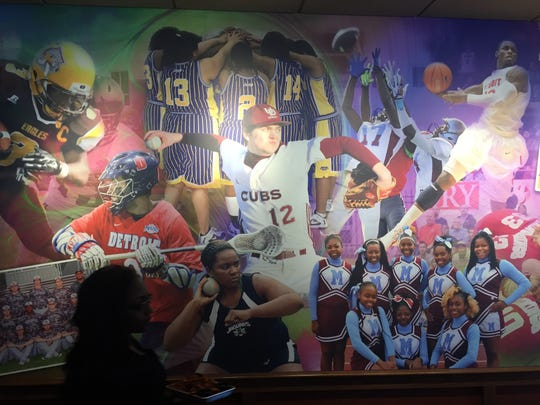 One of several photographic murals inside the new Detroit Applebee's.