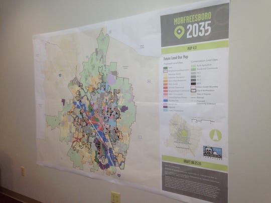 Residents will get the chance to view Murfreesboro 2035 Comprehensive Plan displays, such as this one showing a map suggesting land use plans for the next 20 years, during a community meeting 6:30-8:30 p.m. Tuesday at Patterson Park Community Center, 521 Mercury Blvd.