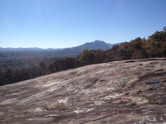 The beauty of Bald Rock has been ruined by vandals with spray paint.