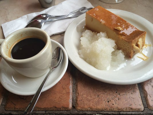 Fernandez The Bull flan and cafe cubano
