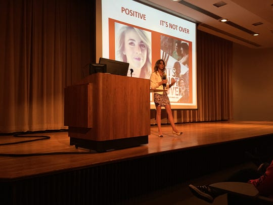 Paige Rawl talks about her book, 'Positive,' on Tuesday
