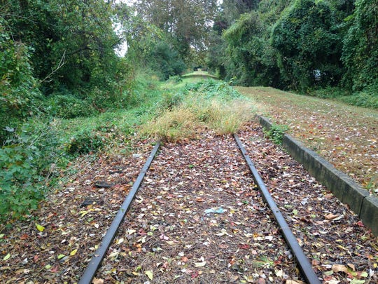Railroad tracks near Snow Hill's Old Train Station show their age Wednesday.