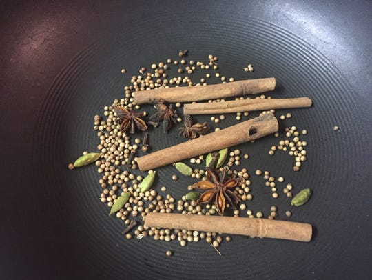 Some of the spices uses in making pho broth.