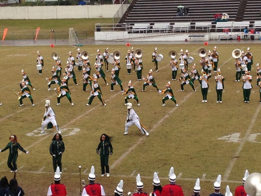 Kentucky State's band performs at halftime of Saturday's 21-14 Lane win at Lane Field.