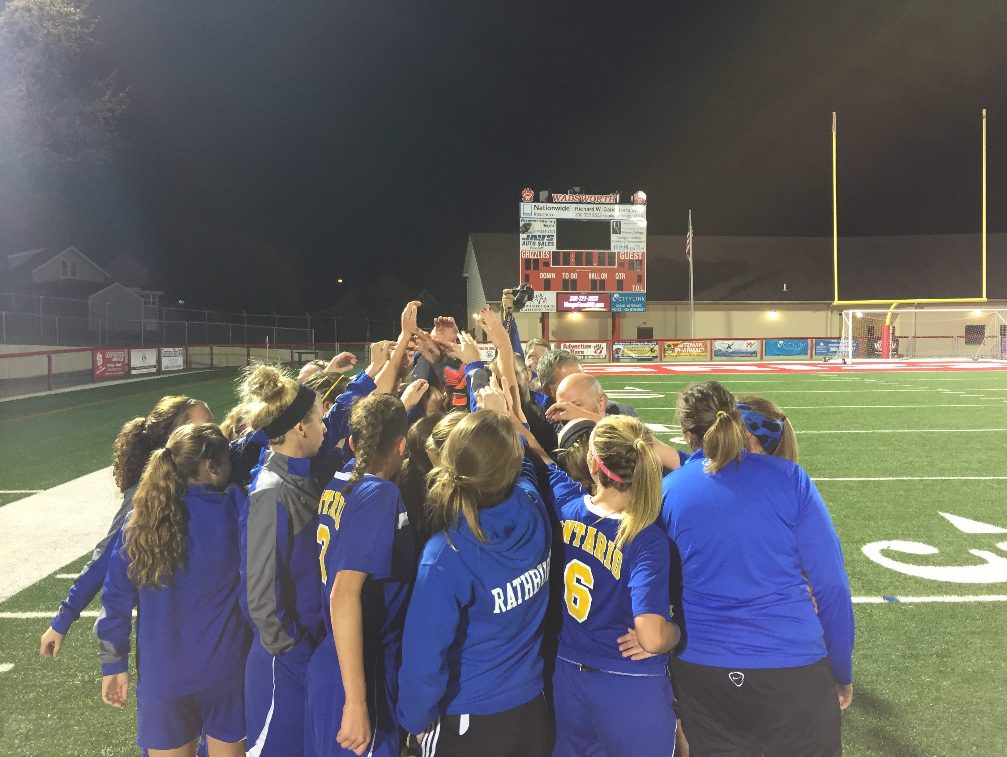 The Ontario girls soccer teams meets after winning a Division II regional semifinal match 3-2 over Parma Heights Holy Name at Wadsworth Tuesday night.