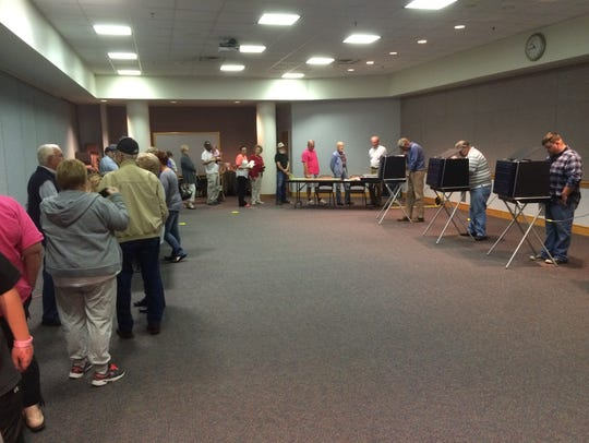 Long lines at the Augusta County Government Center
