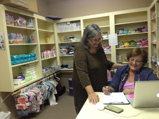 Tracy Frank, left, executive director the Hope Pregnancy