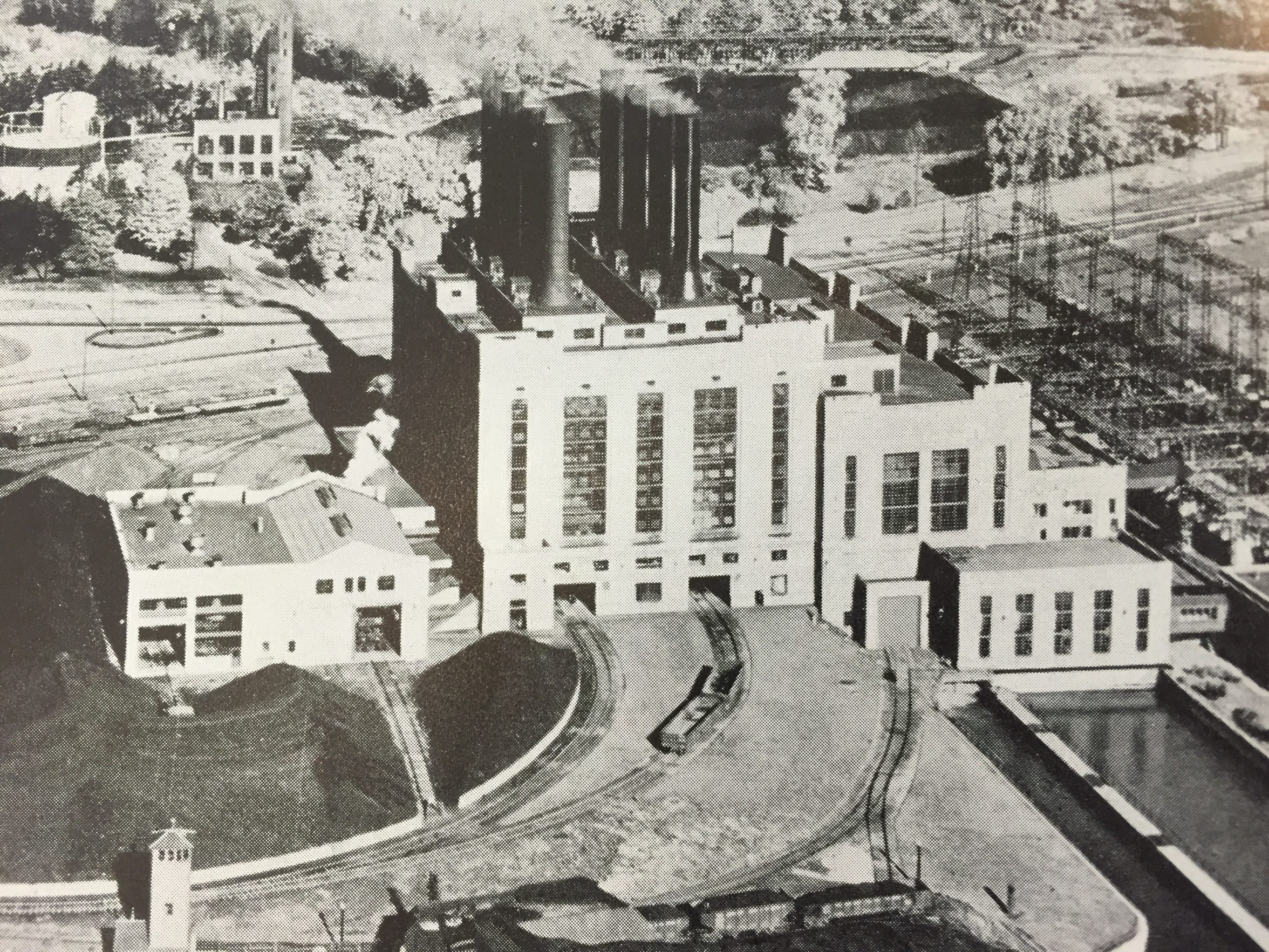 A historic photo of the Mighty Marysville power plant.