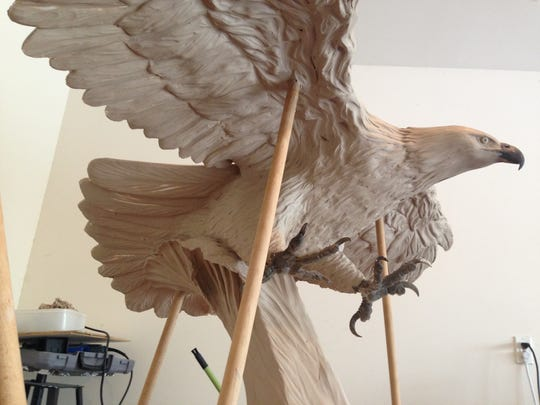 This eagle, sculpted by local art teacher Randy New, will be part of the Navarre Black Hawk Memorial, expected to be unveiled in March 2016. The memorial in Navarre Park will honor the 11 servicemen killed in a helicopter crash in March, along with all lives lost in military service.