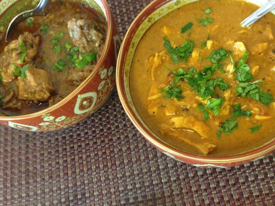 Kadhai chicken and butter chicken, made fresh each morning by owner Mehfuza Harmon at Le Gourmet India in Fort Myers.