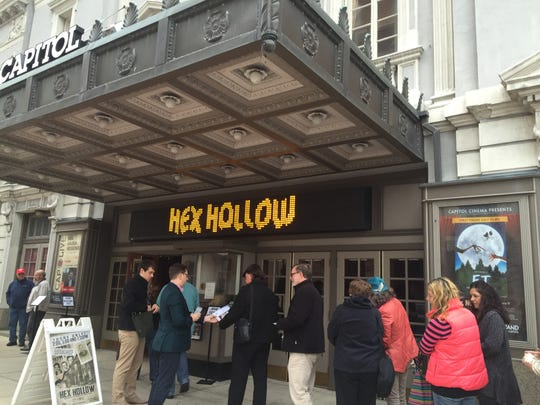 "A line forms outside of the Strand-Capitol Theater on Saturday, Nov. 7, 2015 for  a screening of the documentary ""Hex Hollow: Witchcraft and Murder in Pennsylvania."""