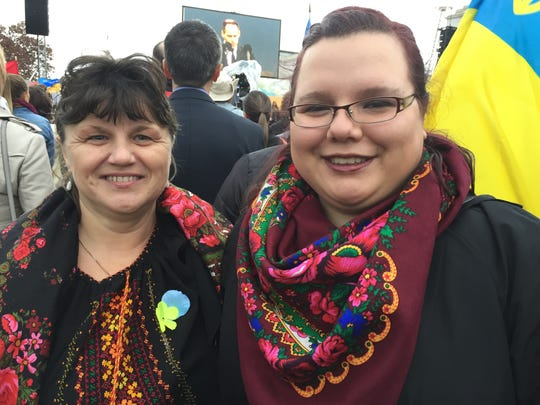Lesia Hrycyna of Webster, right, with her mother, Ivanka, at the Nov. 7, 2015 dedication of the Holodomor Memorial in Washington, D.C.
