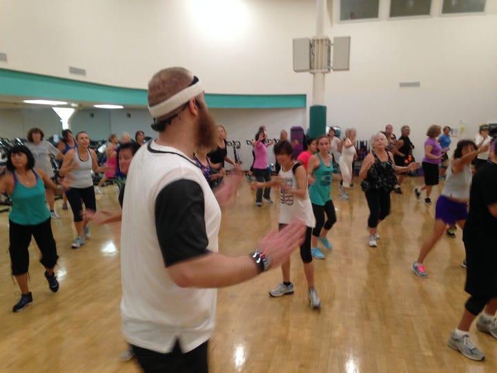 Jarrod Madara instructs a Dance Mania fitness class