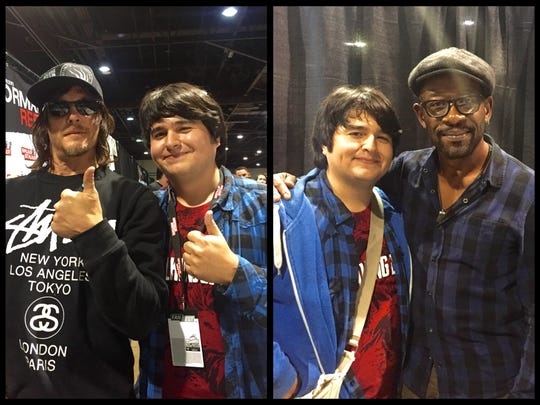 "Indio grad Lincoln Castellanos poses on left with Norman Reedus and on right with Lennie James, both of ""The Walking Dead."""