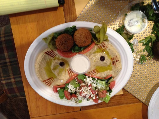 The vegetarian plate offered El Basha's own take on several Mediterranean classics.