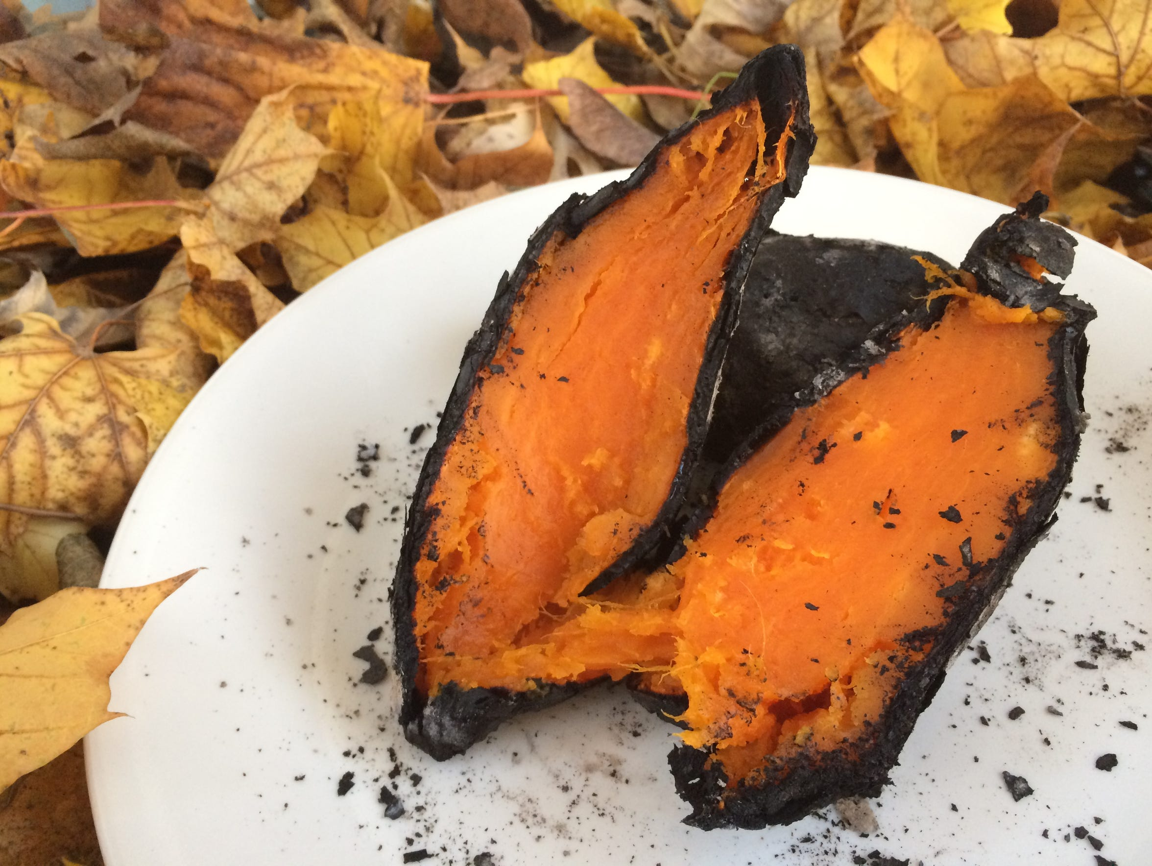 Some of the sweet potato is lost to the charring process.