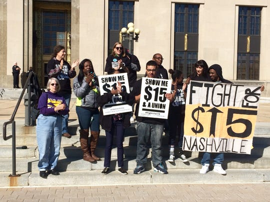 A small group of demonstrators gathered Tuesday in Nashville to demand a $15-an-hour minimum wage. Nov. 9, 2015.