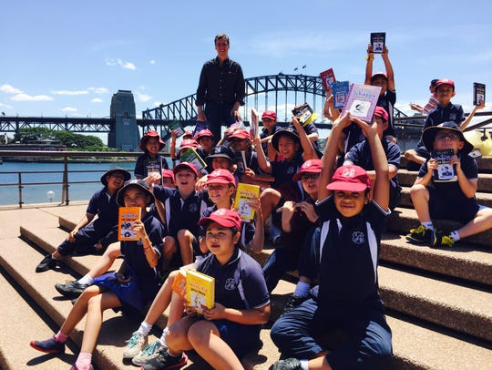 Jeff Kinney on the steps of  the Sydney Opera House
