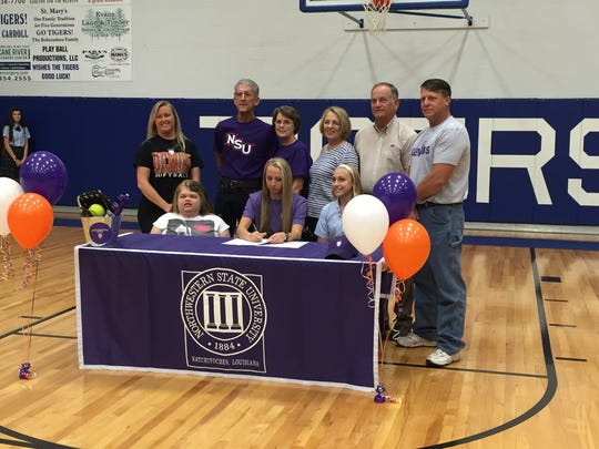 St. Mary's senior Madelyn Matt signs with Northwestern State Wednesday.