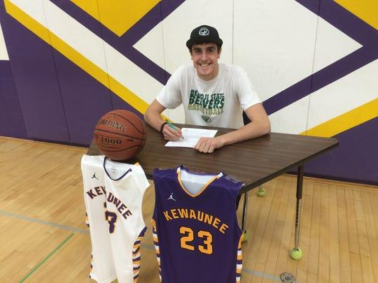 Kewaunee senior Zach Baumgartner signed a national letter of intent with the Bemidji State University men's basketball team on Wednesday.