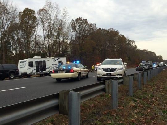 A crash involving multiple vehicles shut down eastbound