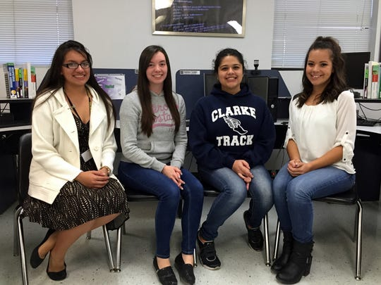 Parkland High School is recruiting members for its Girls Who Code club. Current members are, from left, Ashley Garibaldi, Alexis Wilson, Ana Quintana and Delainey Thurman.