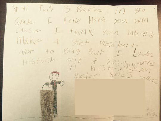 A photo of the letter Reese Aarestad, a third grader