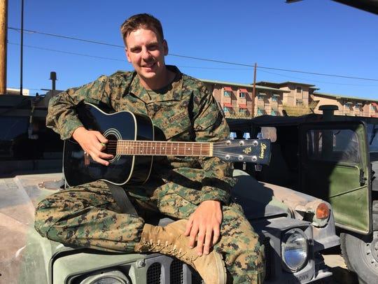 Marine Corps Staff Sgt. Brandon Valentine at Marine
