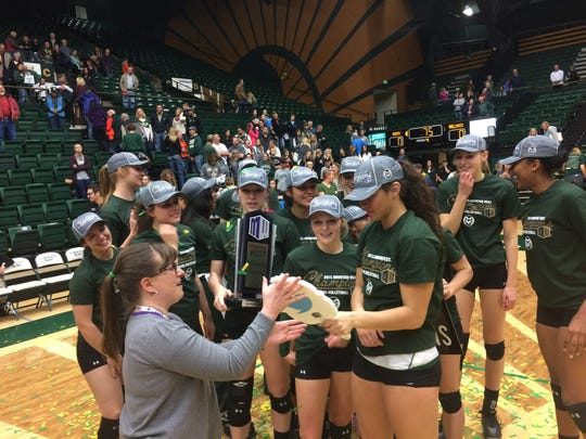 The CSU volleyball team celebrated its seventh consecutive Mountain West title on Saturday after sweeping Fresno State.