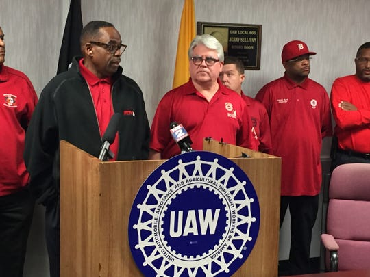 UAW Vice President Jimmy Settles and UAW Local 600 President Bernie Ricke hold a press conference in Dearborn to say they are still optimistic that they can convince a majority of Ford workers to vote in favor of a national contract.