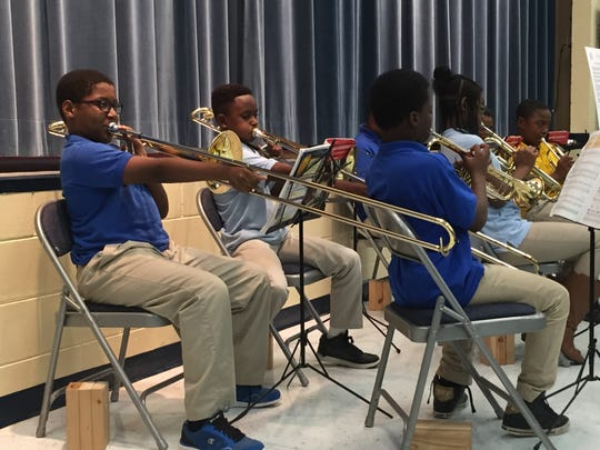 """""""Band Stars,"""" students from Apalachee Tapestry Magnet School of the Arts, perform during a family engagement event Monday night."""