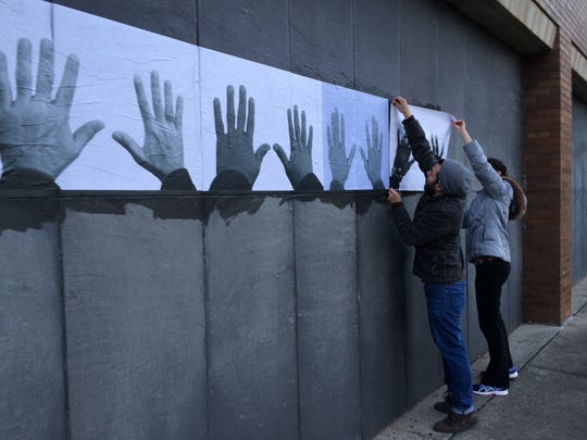 Drake University students installed a temporary mural last fall that was designed by an artist from Ferguson, Mo.