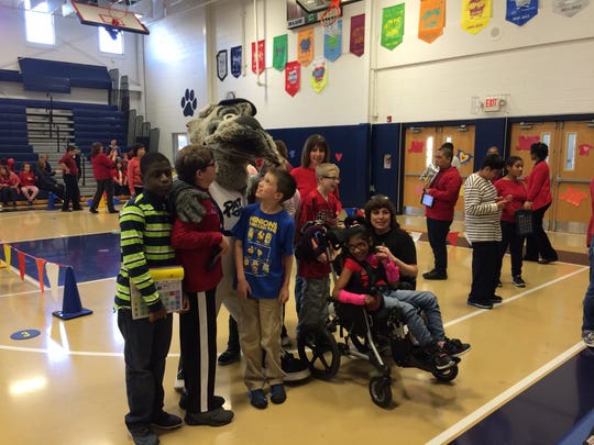 """Sparky"" from the Somerset Patriots joined kids at the Midland School's 35th Annual Jumpathon this past Wednesday."