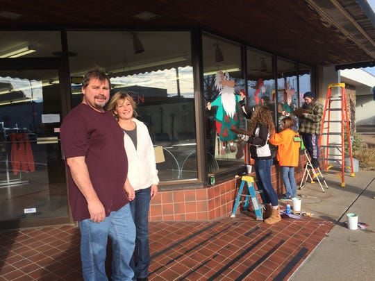 Chad and Tammy Hamin stand outside their new business, Hamin Hardware & Supplies, in downtown Nekoosa.