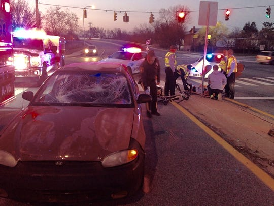 A 23-year-old bicyclist was hit by a vehicle on Kirkwood Highway in Elsmere Wednesday morning.