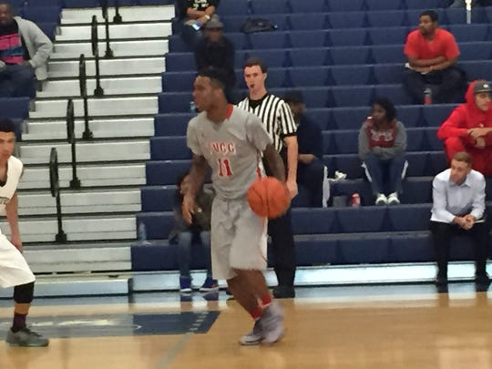 Trinity Valley point guard Hyron Edwards, who had 12 points and 8 assists, dribbles up court Thursday night against Pensacola State.