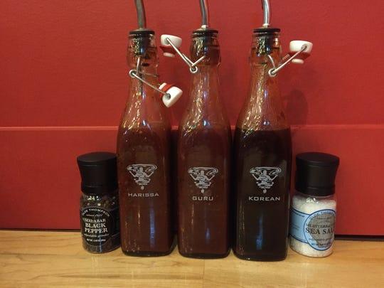 Barbecue sauces at Guru BBQ.