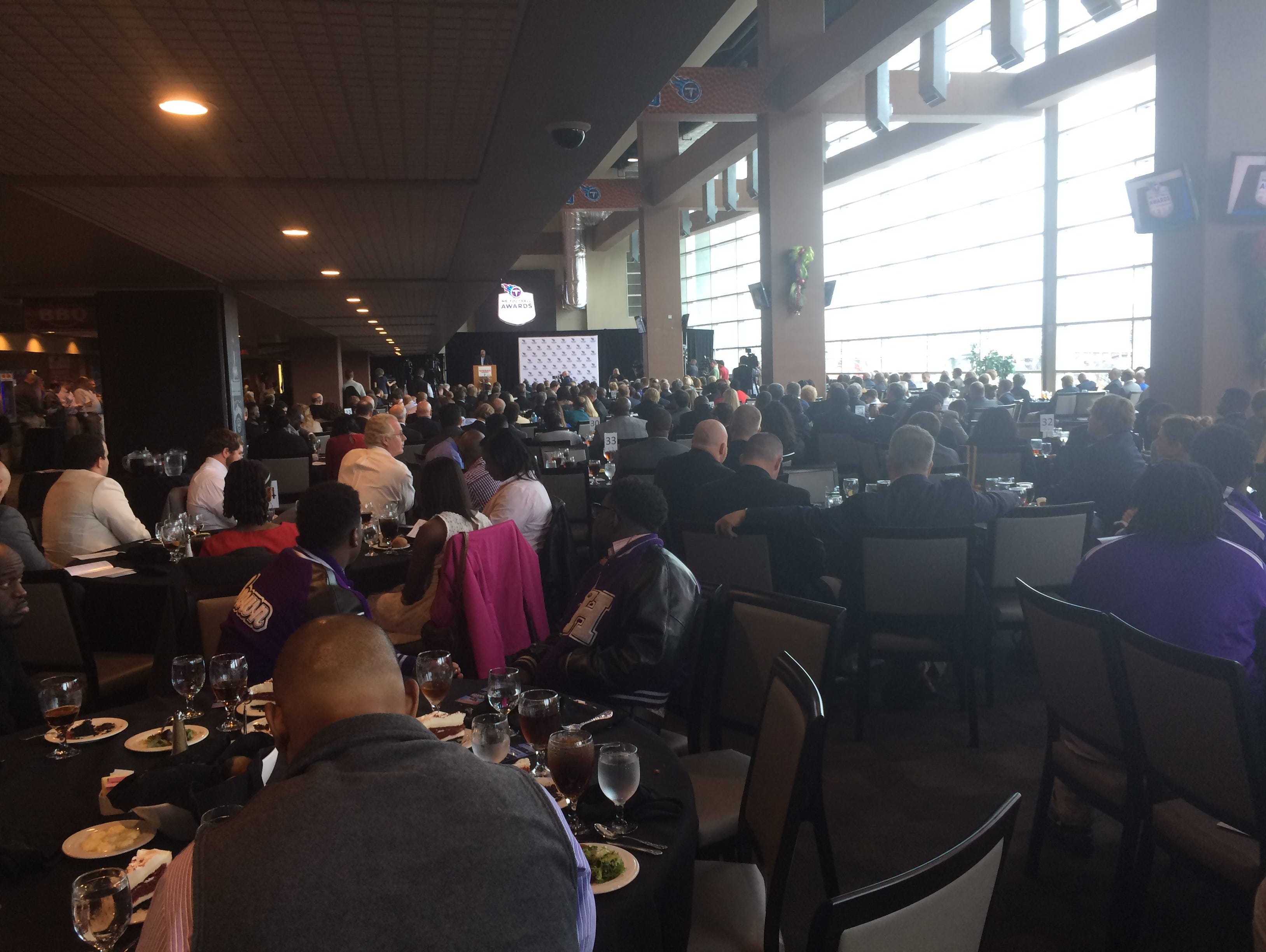 A crowd of about 500 gathered at Nissan Stadium where the Tennessee Titans play in Nashville for the Mr. Football awards ceremony.