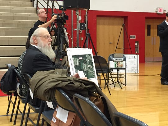 Rabbi Shlomo Lesin, principal at Yeshiva Gedolah Na'os Yaakov, before a public hearing of the Ocean Township Zoning Board Tuesday.