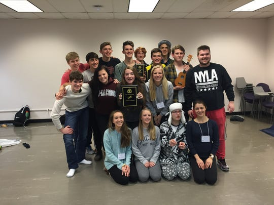 Members of the Plymouth High School one-act cast who performed at the Wisconsin Theater Festival are, front row, from left: Elisabeth Balistreri, Taylor Fritz, Mary Riley and Christina Marcu; middle row, Jacob Van Norwick, Madi Heginbottom, Bekah Hankins, Kersten Dewey and Brandon Herrin; and back row, Alan Schaefer, Logan Kulow, Alex Gravatt, David Hassel, Adam Carbaugh, Louis Gentine, Quinn Zwick and Paul Hammes.