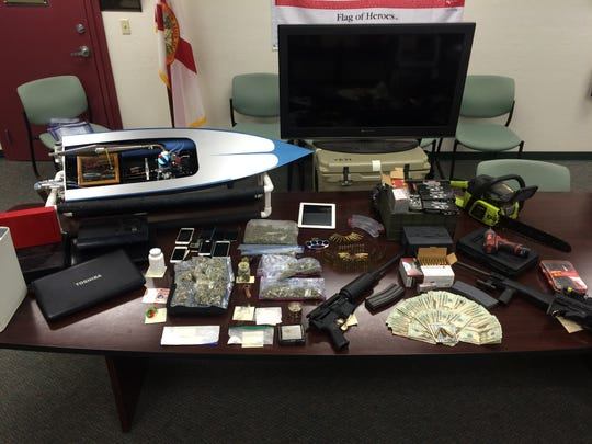 Items found at a Lehigh Acres home.