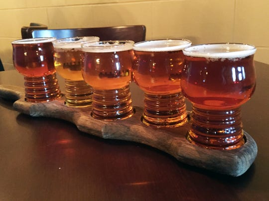 A flight of beers at Deer Creek Brewery in Noblesville.