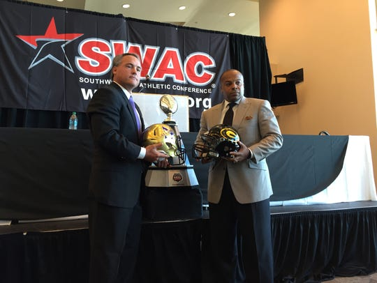 Alcorn State coach Jay Hopson, left, and Grambling