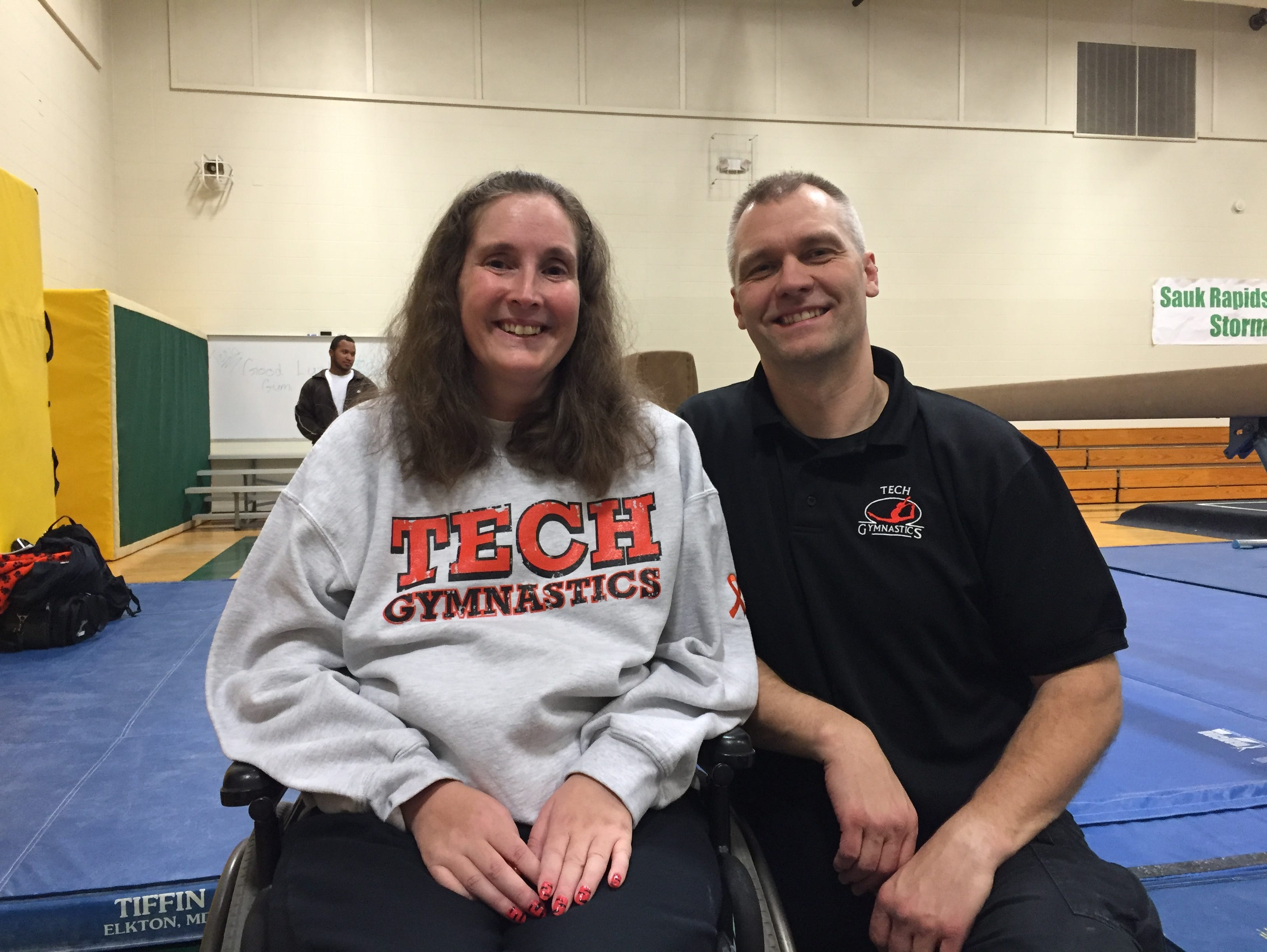 Colleen and Joel Stark-Haws are the co-head coaches for the St. Cloud Tech/Cathedral gymnastics program.
