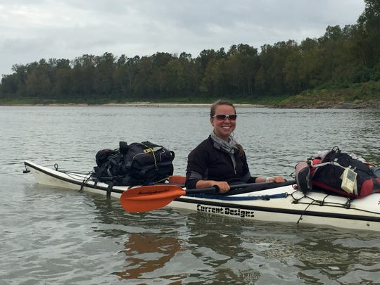 Abby Kaeser paddles down the Mississippi River during a recent trip through Warrior Expeditions, a veteran outdoor therapy program. Kaeser, a civilian, documented the trip in photos and on a blog.