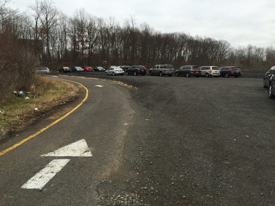 A one-way road leads drivers around the Route 59 park and ride lot in Monsey, seen here on Dec. 8.