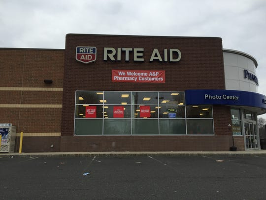 A Rite Aid down the street from a shuttered A&P supermarket on Route 520 in Marlboro welcomes all A&P pharmacy customers.