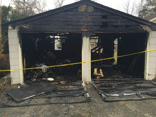 The detached garage at 43 Chesapeake Drive in the Lake Hiawatha section of Parsippany is in ruins Wednesday morning after an overnight fire.