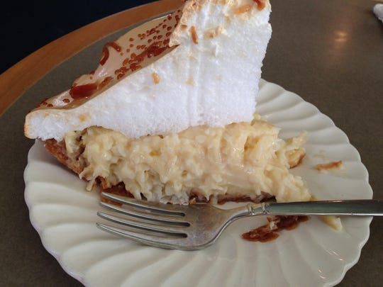 One of the best selling pies at Dolly's Produce Patch and Eatery is coconut cream pie topped with mounds of meringue.